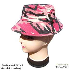 8fb0bce11 Maskáčový klobúk ružový detský
