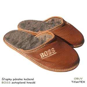 Šľapky pánske kožené BOSS zateplené hnedé 93442ec710